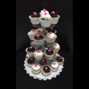 Estante de acrílico con cupcakes
