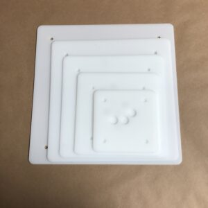 14-12-10-8-6 inch square plastic cake board set