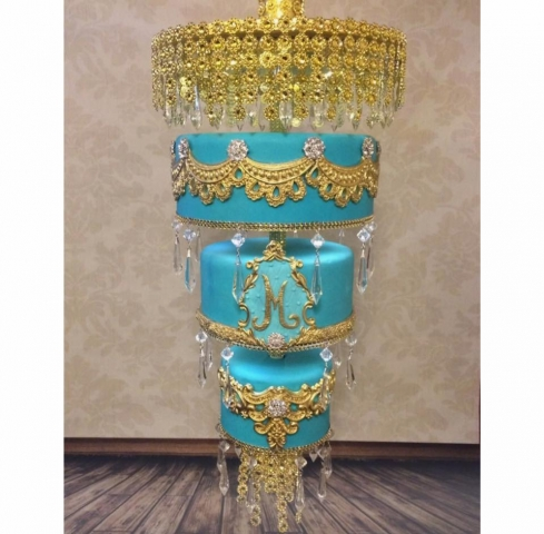 Hanging Chandelier Cake Moroccan Style Blue and Gold