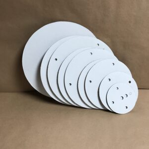 This Pro Series 16 inch round corrugated disposable cake board set is precut to fit your Professional Series 16 round Cake Stackers™ cake support system.